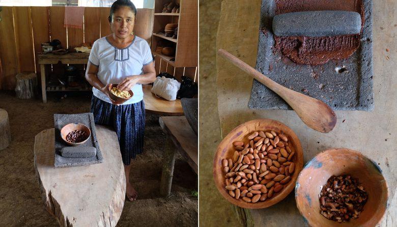 Maya Living Experience Kakao und Mais mahlen